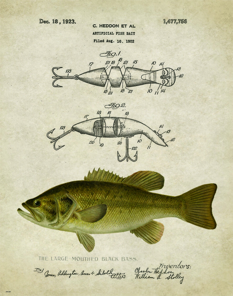 Vintage Trout Fly Fishing Patent Art Print Lures Office Lodge Cabin Wall Decor