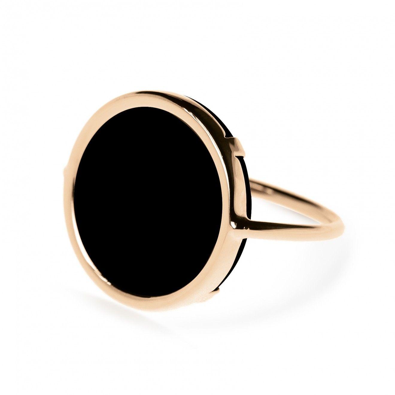 Ginette NY Black Onyx 18-karat rose gold Disc ring Yd32V