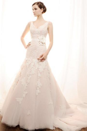 A-line L'automne 2013 Tulle Robes de mariée pas cher
