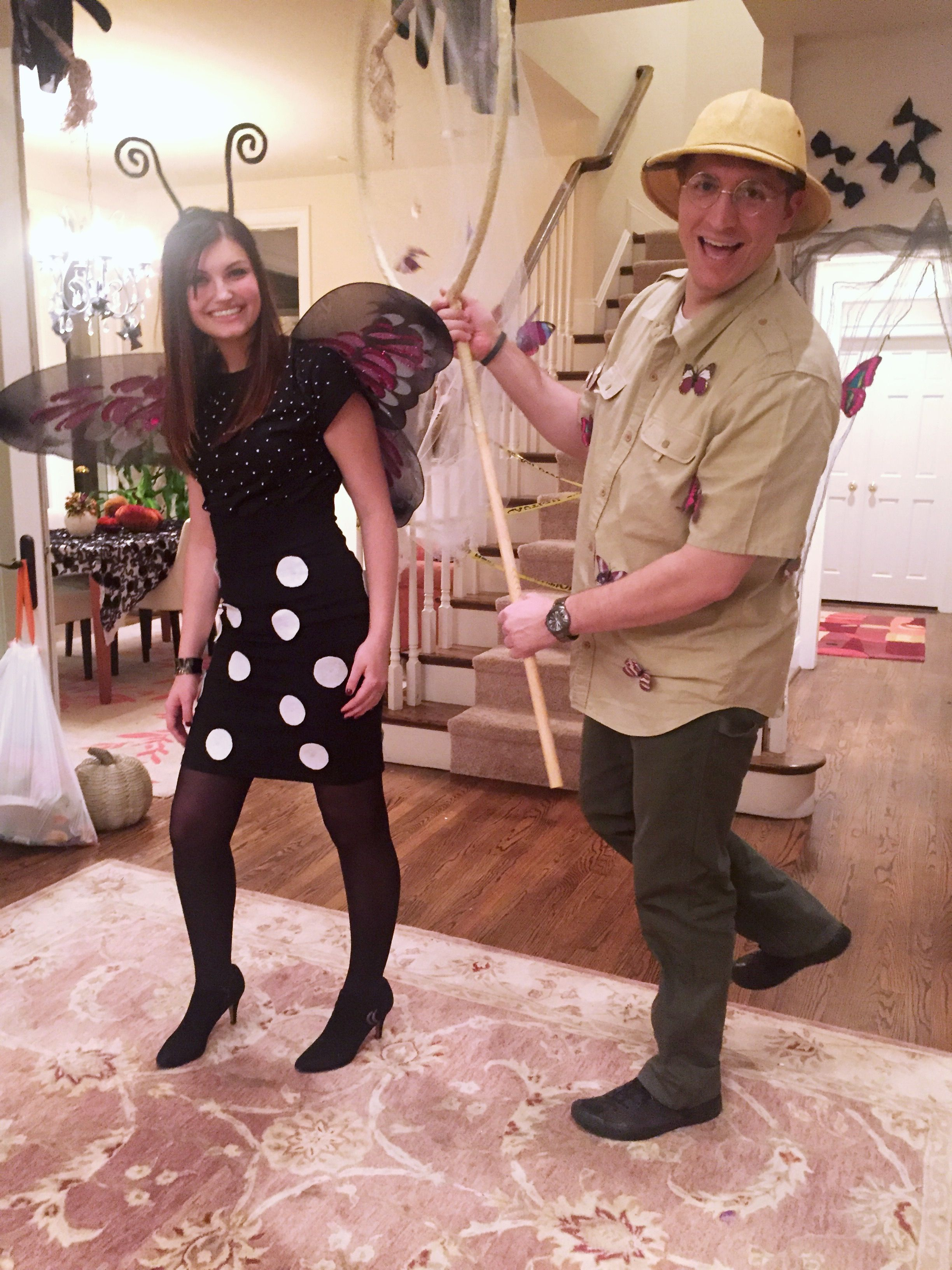 16b2a9020 Couples costume A butterfly and her catcher for Halloween! We used a hula  hoop to create the giant net and hot glued miniature butterflies to it and  his ...