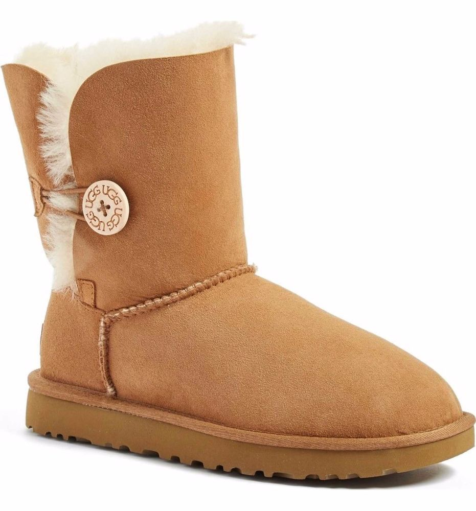 UGGS Ugg Bailey Button II Chestnut Suede Leather Shearling Boots Mid Calf 9 Boot
