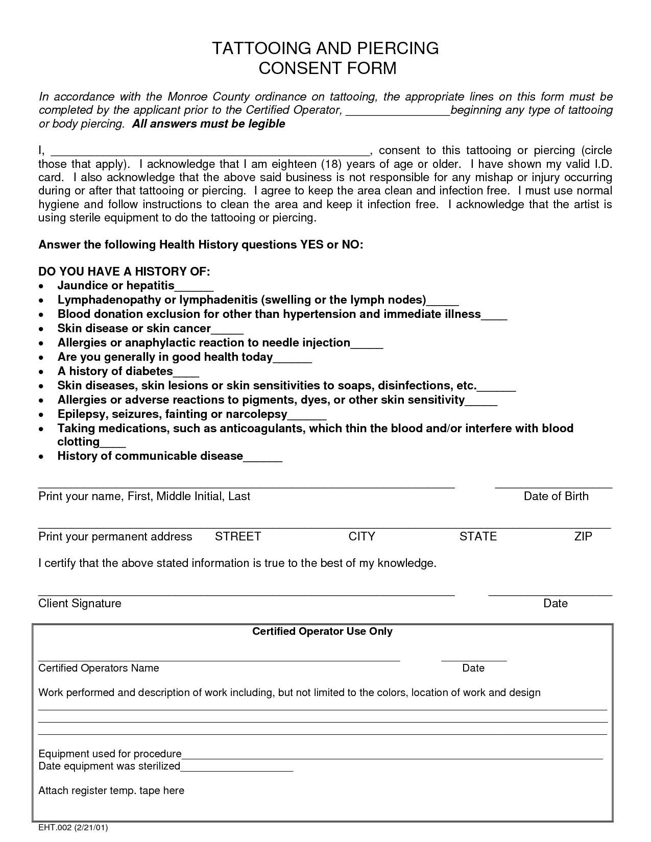 Tattoo consent form template now is the time for you to for Tattoo release form template
