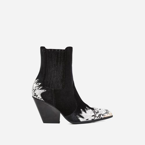 b1156d78f Kelsey Western Ankle Boot In Snake Print Black Velvet   Get the look ...