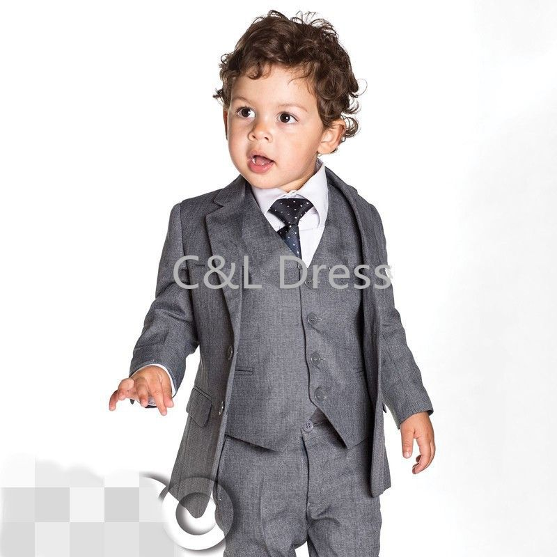 2016 Gray Boy Suits Communion Easter Party Recital Wedding For Baby ...