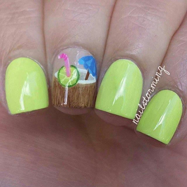 Coconut Vacation Island Drink Nails | Nails | Pinterest | Uña ...