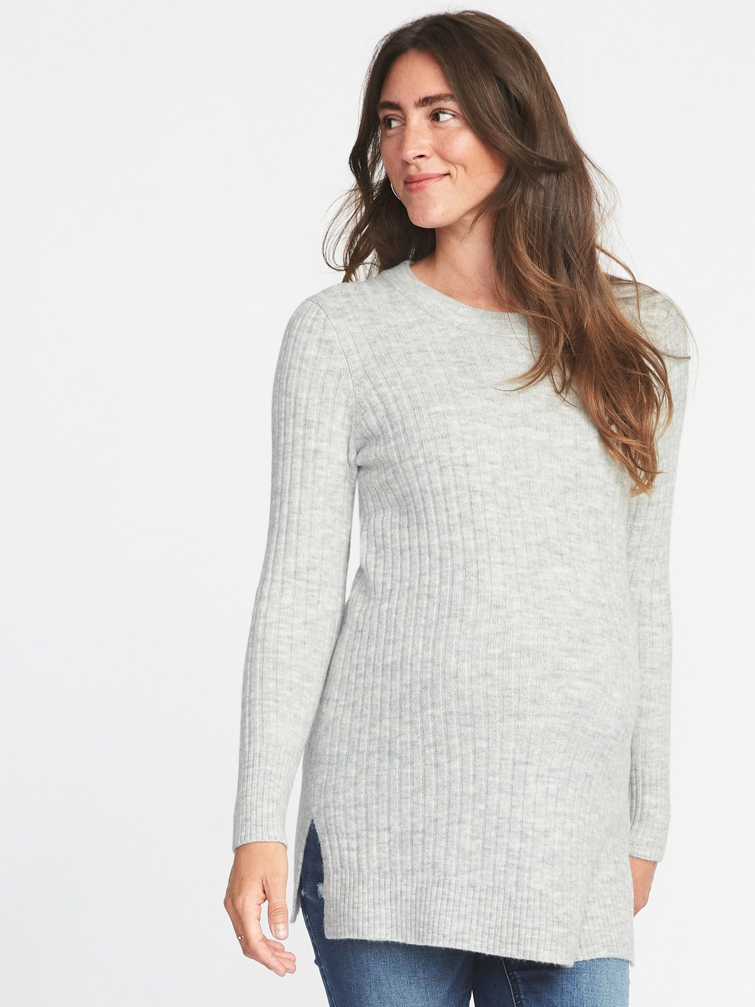 d638b03b0 Maternity Plush Rib-Knit Tunic Sweater