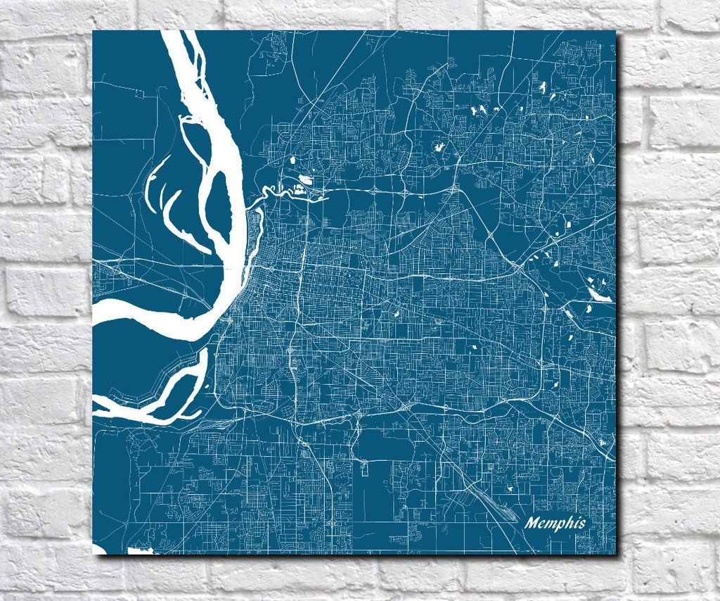Memphis Tennessee City Street Map Print Custom Wall Map From Our - Tennessee waterways map