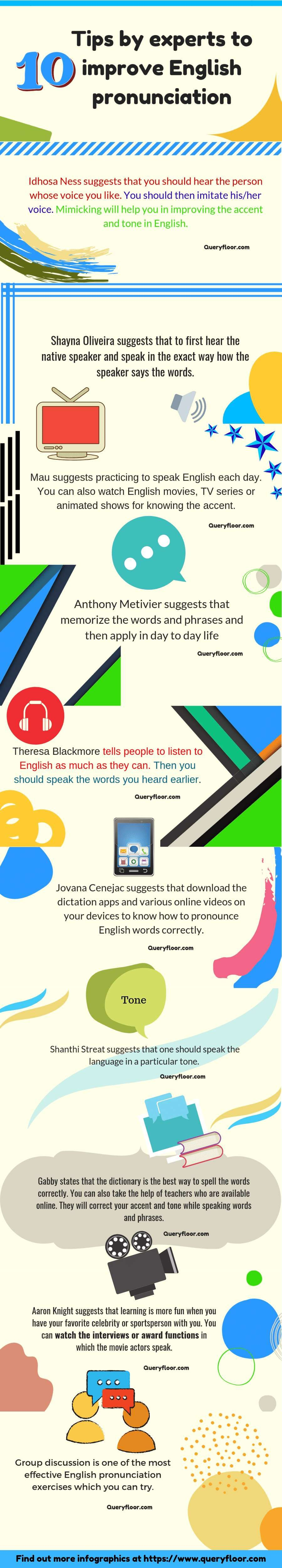 10 Tips By Experts To Improve English Pronunciation Improve English Pronunciation Infographic