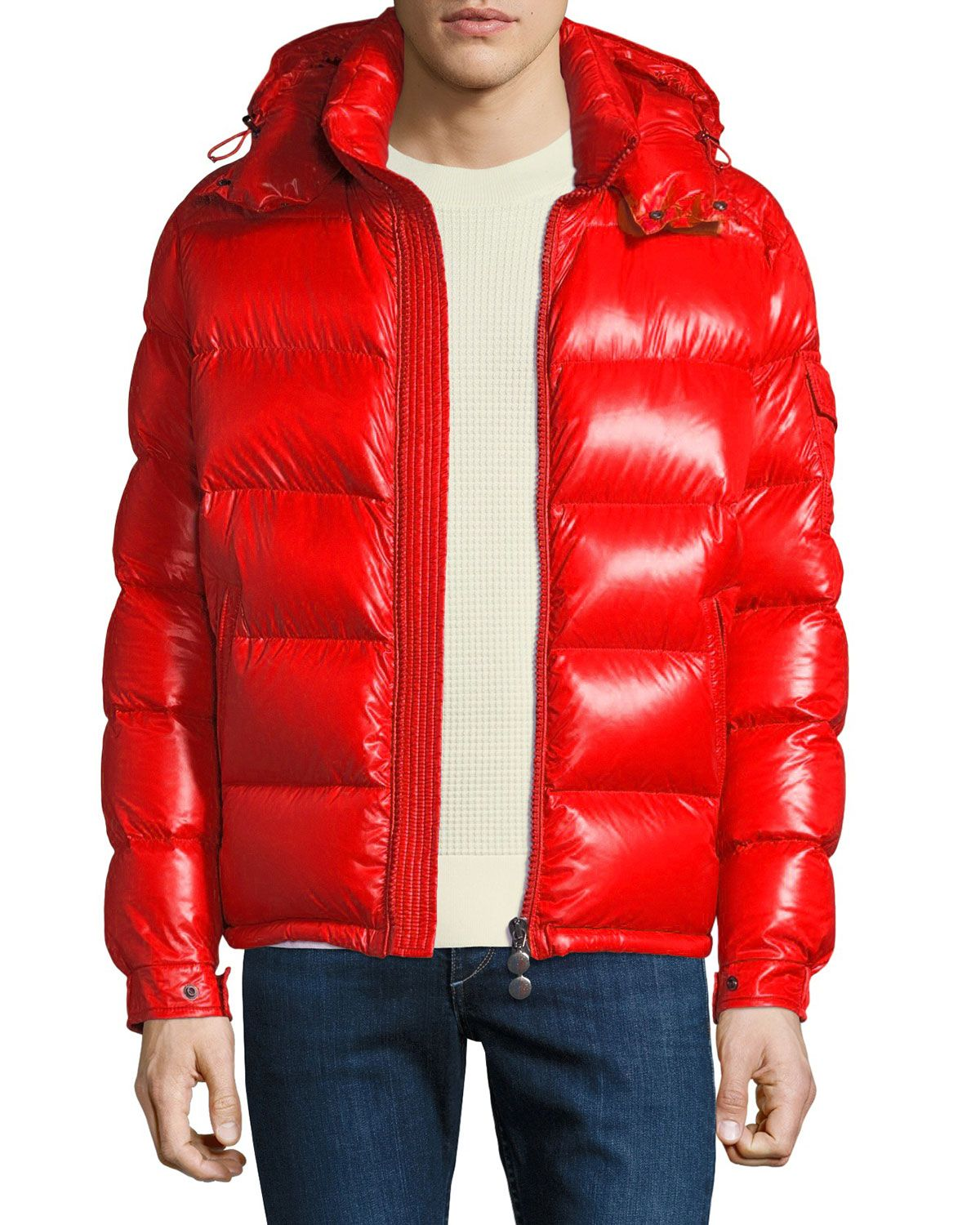 detailed pictures volume large search for clearance MONCLER MEN'S MAYA SHINY DOWN PUFFER JACKET WITH HOOD ...