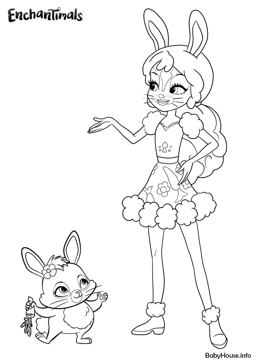 Fluffy Bunny And Mop High Quality Free Coloring From The Category Enchantimals More Printabl Bunny Coloring Pages Cute Coloring Pages Spring Coloring Pages