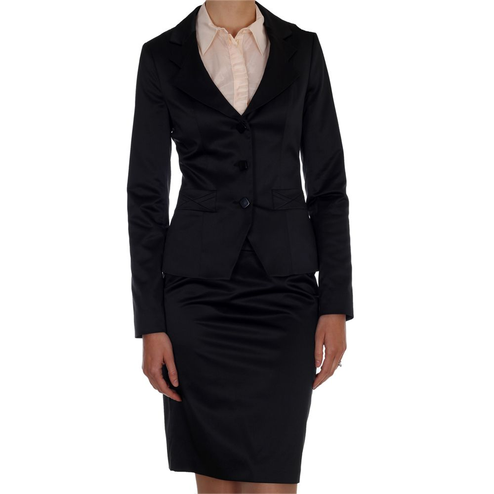 black satin suit skirt business suit and womens