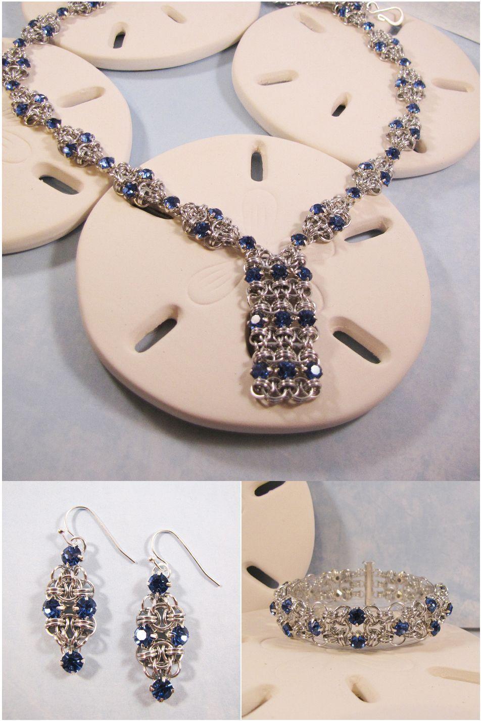 Geometric helm series in silver u light sapphire necklace bracelet