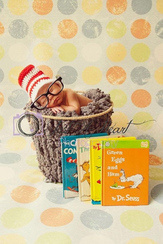 Cat In The Hat Hat For Newborn Baby Hand By Fiberflowersandbeads