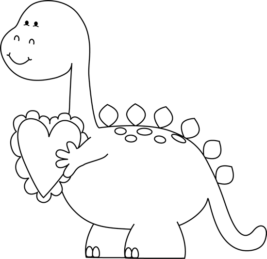 Black And White Valentine's Day Dinosaur Clip Art Rhpinterest: Valentine Coloring Pages Dinosaur At Baymontmadison.com