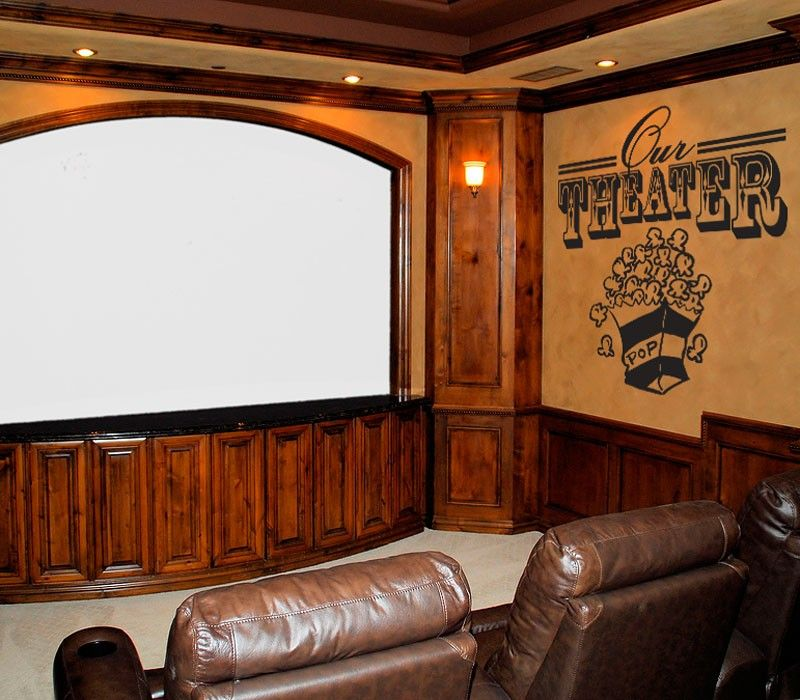 Theater Room Wall Decal With Popcorn Graphic