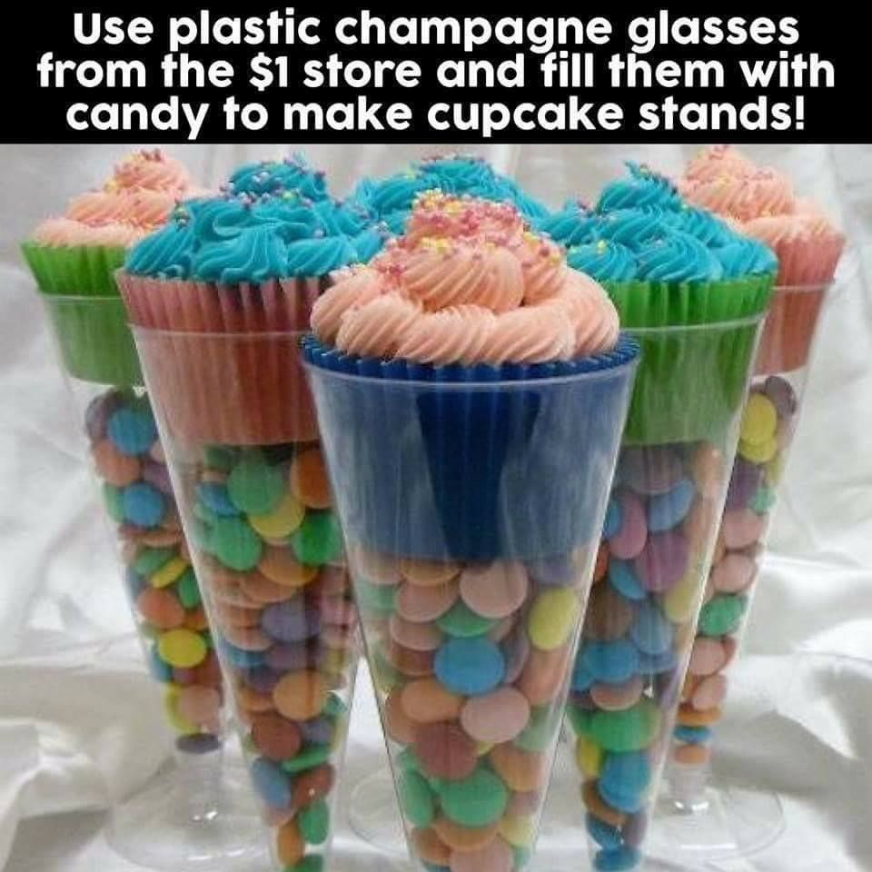 Rock Candy Filled Champagne Glasses: (from Memes For Days) Great Idea For #cupcake Stands Use