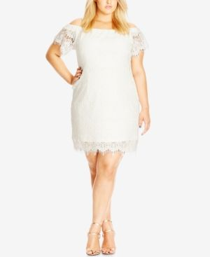 City Chic Trendy Plus Size Off-The-Shoulder Lace Dress - Ivory/Cream ...