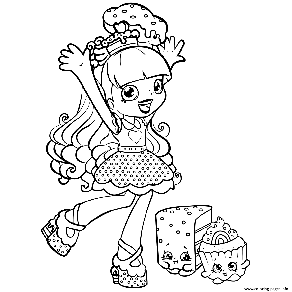 Print Shopkins Shoppie Is Happy Cupecake Coloring Pages Cooki