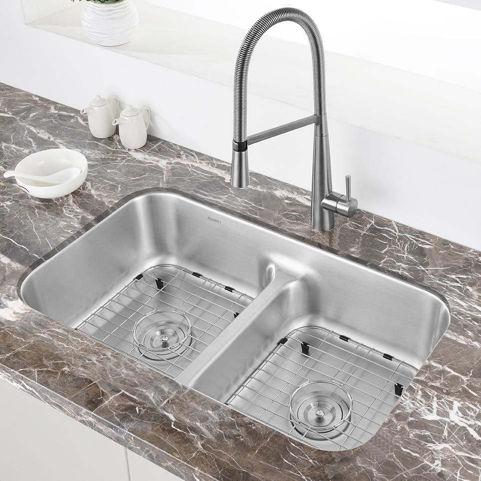 32 Inch Low Divide 50 50 Double Bowl Undermount 16 Gauge Stainless Steel Kitchen Sink In 2021 Stainless Steel Kitchen Sink Sink Stainless Steel Kitchen