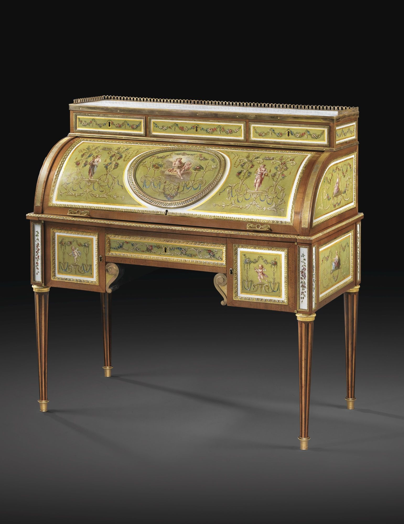 Muebles Italianos Clasicos A Gilt Bronze Mounted Sycamore Painted Metal And Roll Top