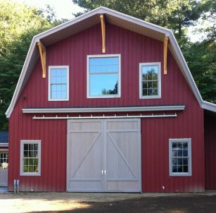 Modern Morton Barn With Functional Sliding Doors. Gambrel Style Roof With  Brackets.