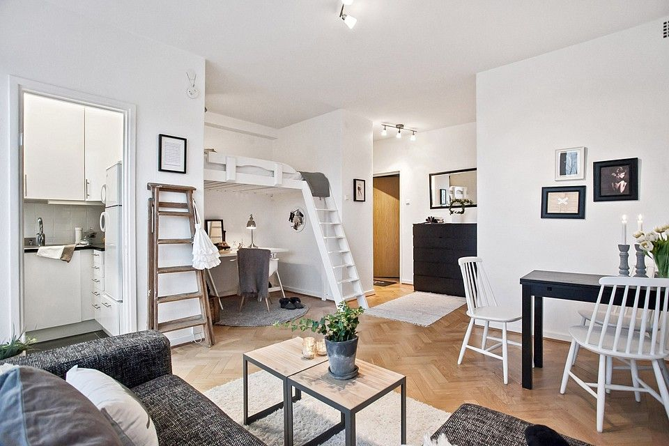 Studio apartment with loft bed appartement pinterest Loft or studio apartment