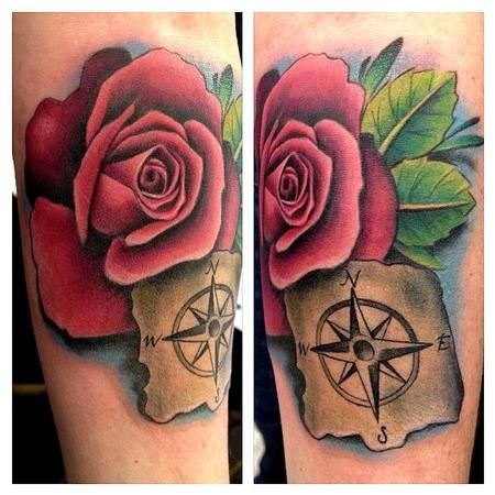 Pink Rose And Compass Forearm Tattoo Tattoo Design Thumbnail Tattoos Forearm Tattoos Rose Tattoo