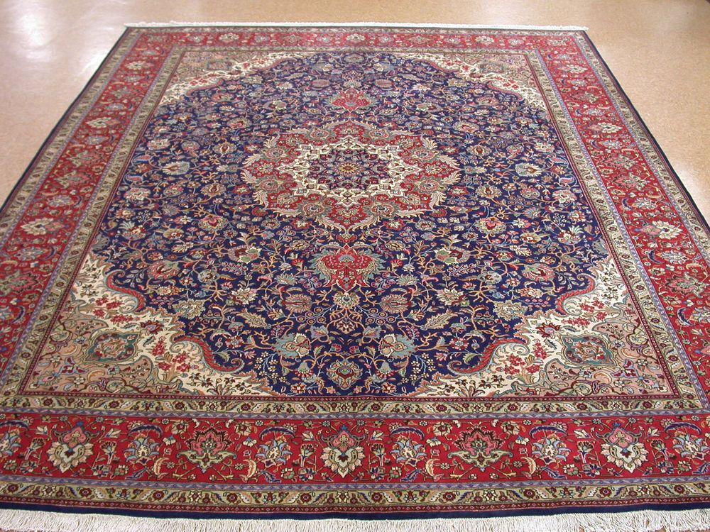 10x13 Persian Tabriz Hand Knotted Wool Traditional Navy Red Oriental Rug Carpet