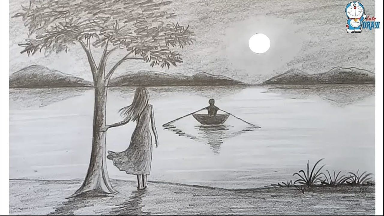 How To Draw Scenery Of Moonlight Night By Pencil Sketch Step By Step Landscape Sketch Landscape Pencil Drawings Landscape Drawings