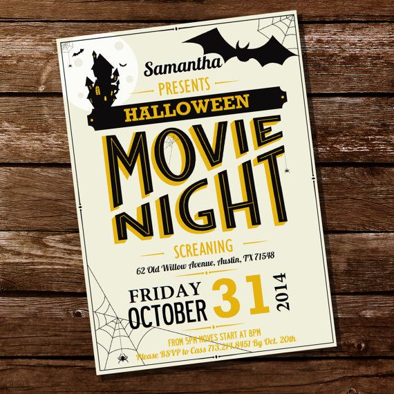 Halloween Movie Night Party Invitation by SunshineParties on #Etsy - halloween party flyer
