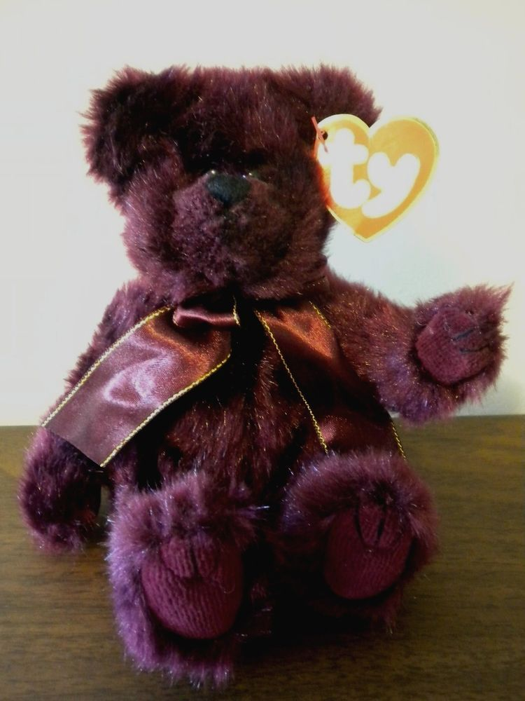 f71cf21cb4e 1993 Ty Beanie Baby Beargundy Attic Treasures Jointed Plush Bear S.