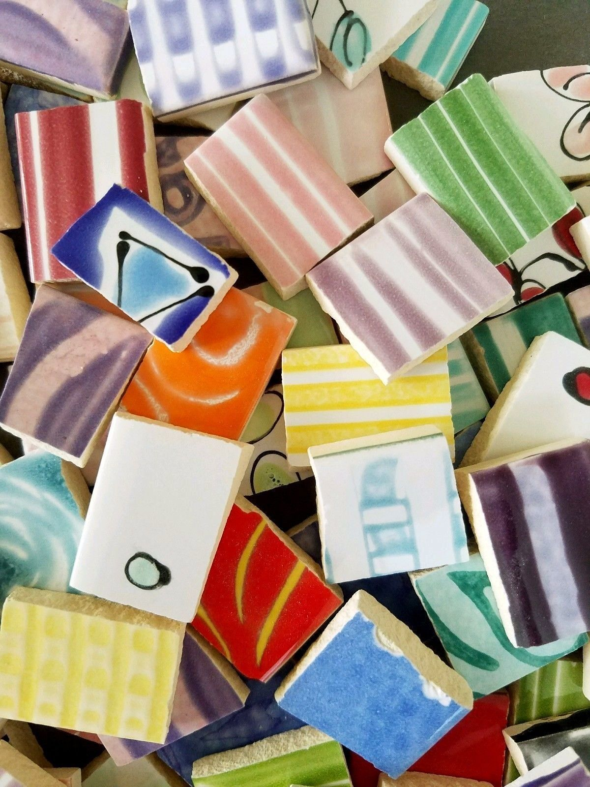 215 Handmade Handpainted Mosaic Tiles Funky Mixed Patterns And Colors 1