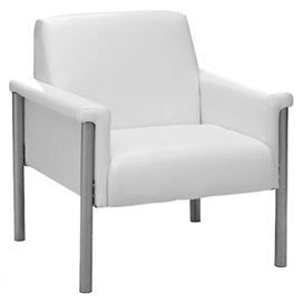 "Steel-framed arm chair with white leatherette upholstery and exposed legs.   Product: ChairConstruction Material: Steel and leatheretteColor: WhiteDimensions: 32.6"" H x 27.5"" W x 27.5"" D"