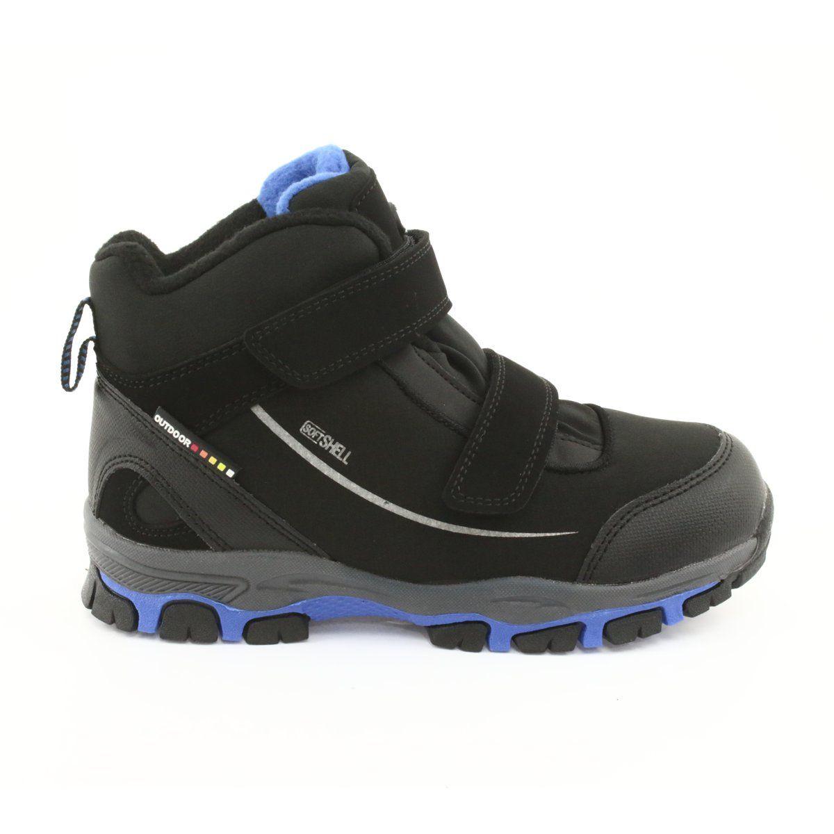American Club Trzewiki Softshell Z Membrana American Wt64 Czarne Niebieskie Boots Childrens Boots Kid Shoes
