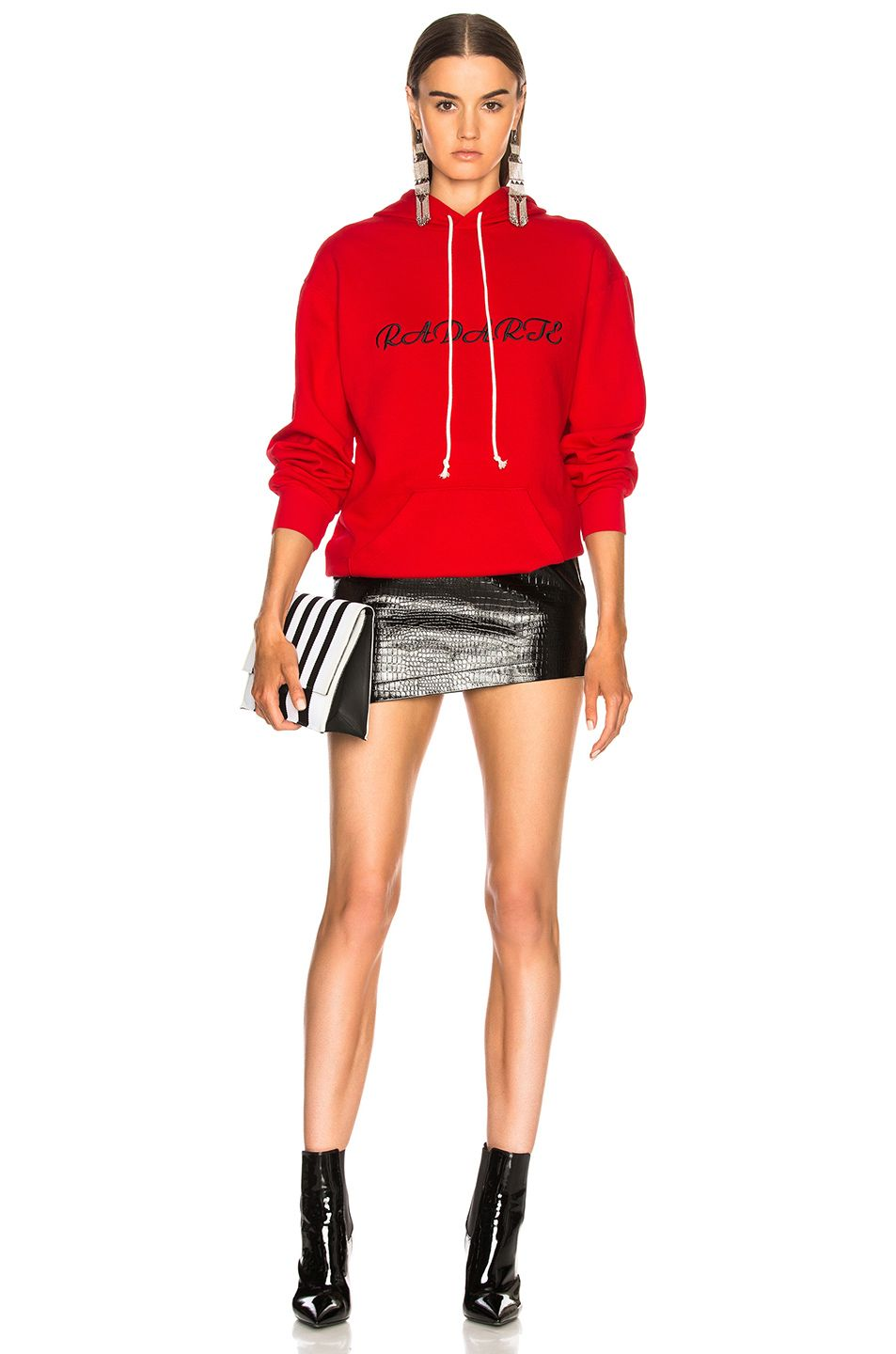 Oversized Radarte Los Angeles Paris Embroidery Hoodie in Red Rodarte Purchase Discount Manchester Outlet Where To Buy Prices Online Clearance Cheap RH26LhQ5D