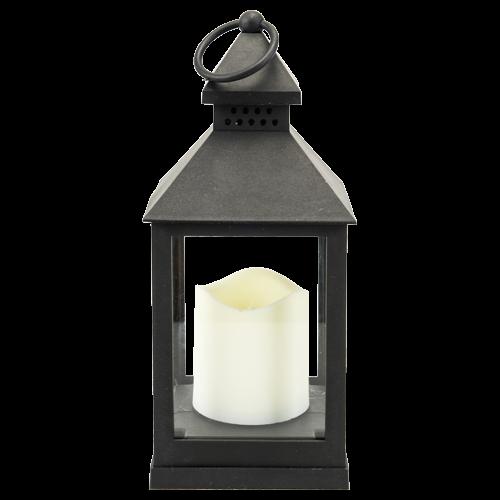 lanterne bougie led 11x28cm noir blanc shopping bougie. Black Bedroom Furniture Sets. Home Design Ideas