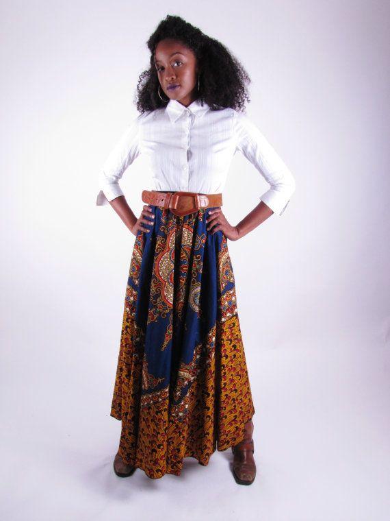 African Print Full Length Patchwork Skirt - Sharice on Etsy, $130.00
