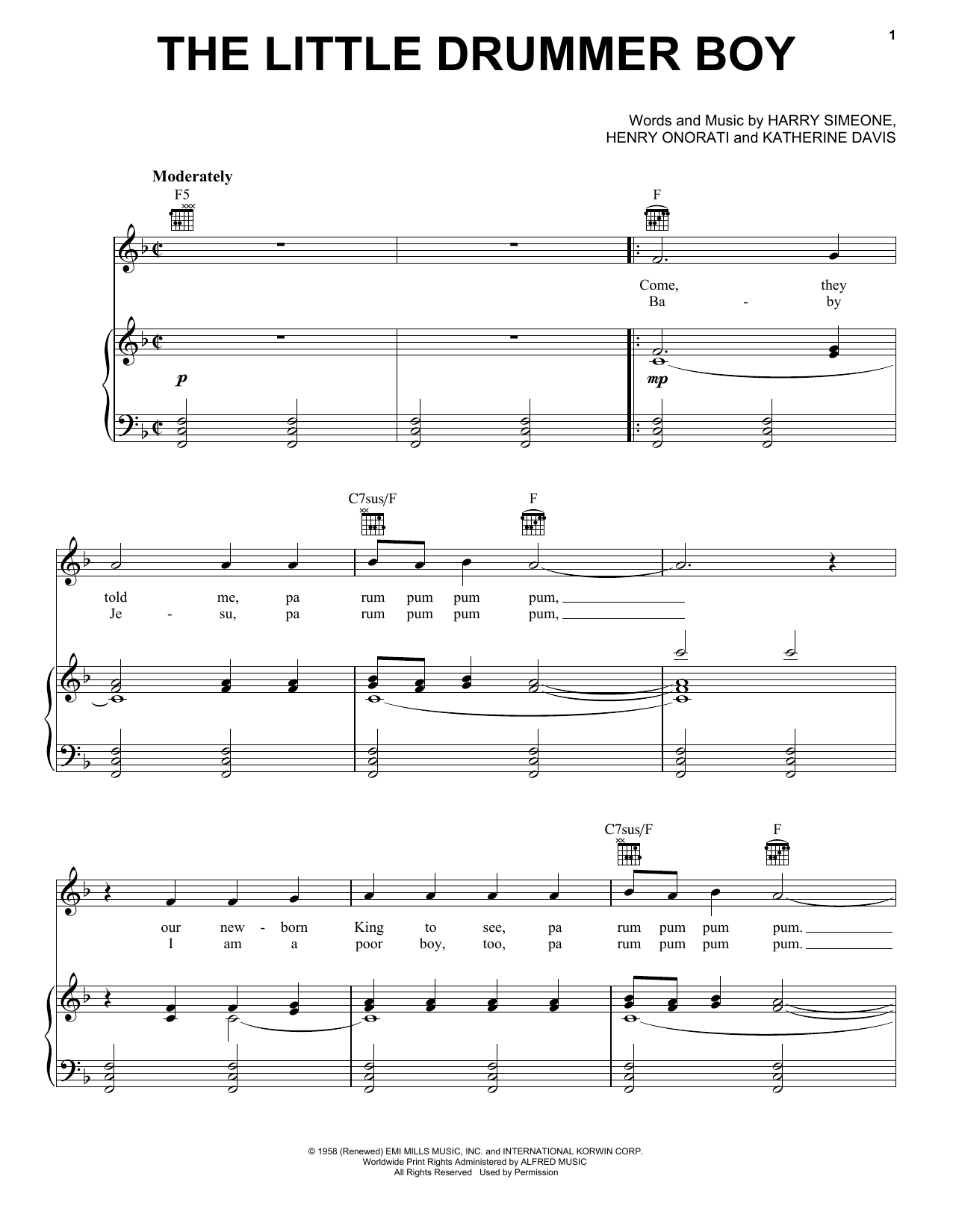 Harry Simeone 'The Little Drummer Boy' Sheet Music Notes, Chords, Score. Download Printable PDF ...