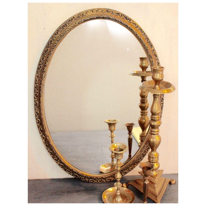 Large Gold Wall Mirror large gold wall mirror - oval midcentury hollywood regency mirror