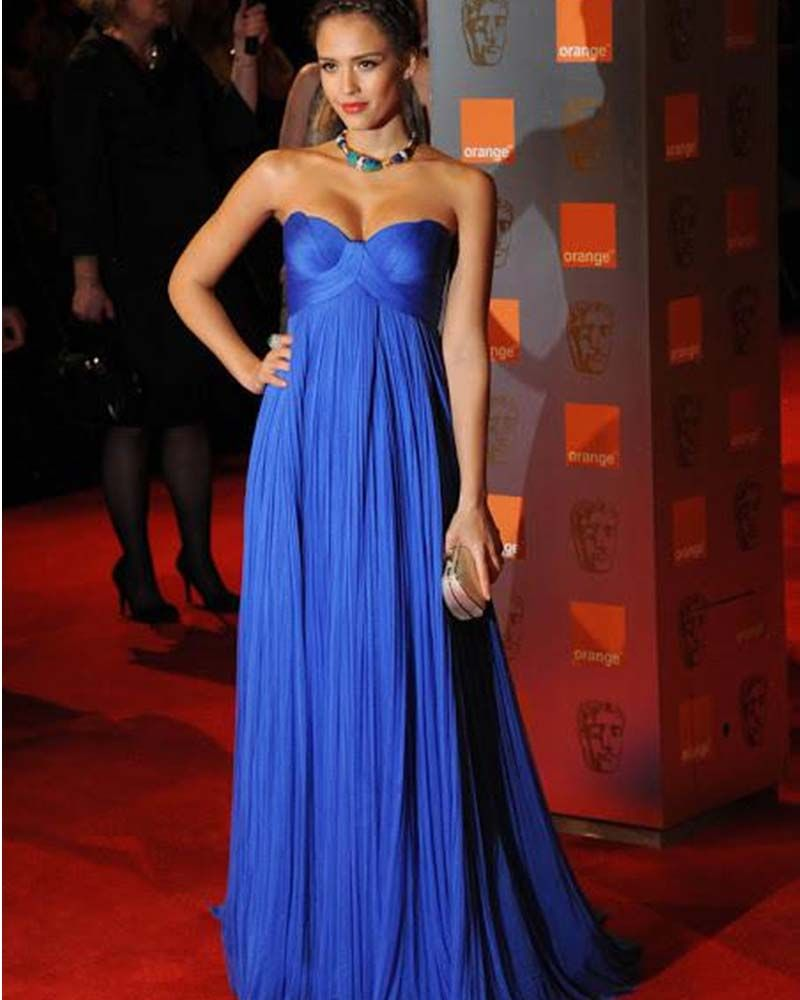 Charming royal blue evening gowns sweetheart ruffles floor length