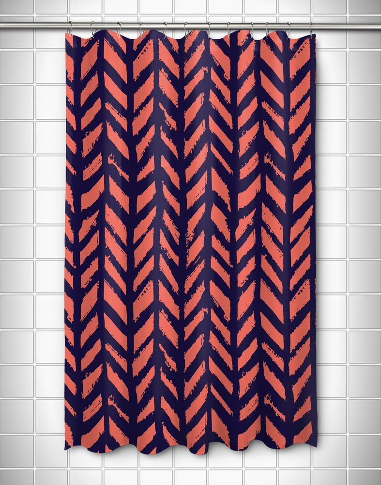 Grand Bahama Drifter Coral Amp Navy Shower Curtain Black