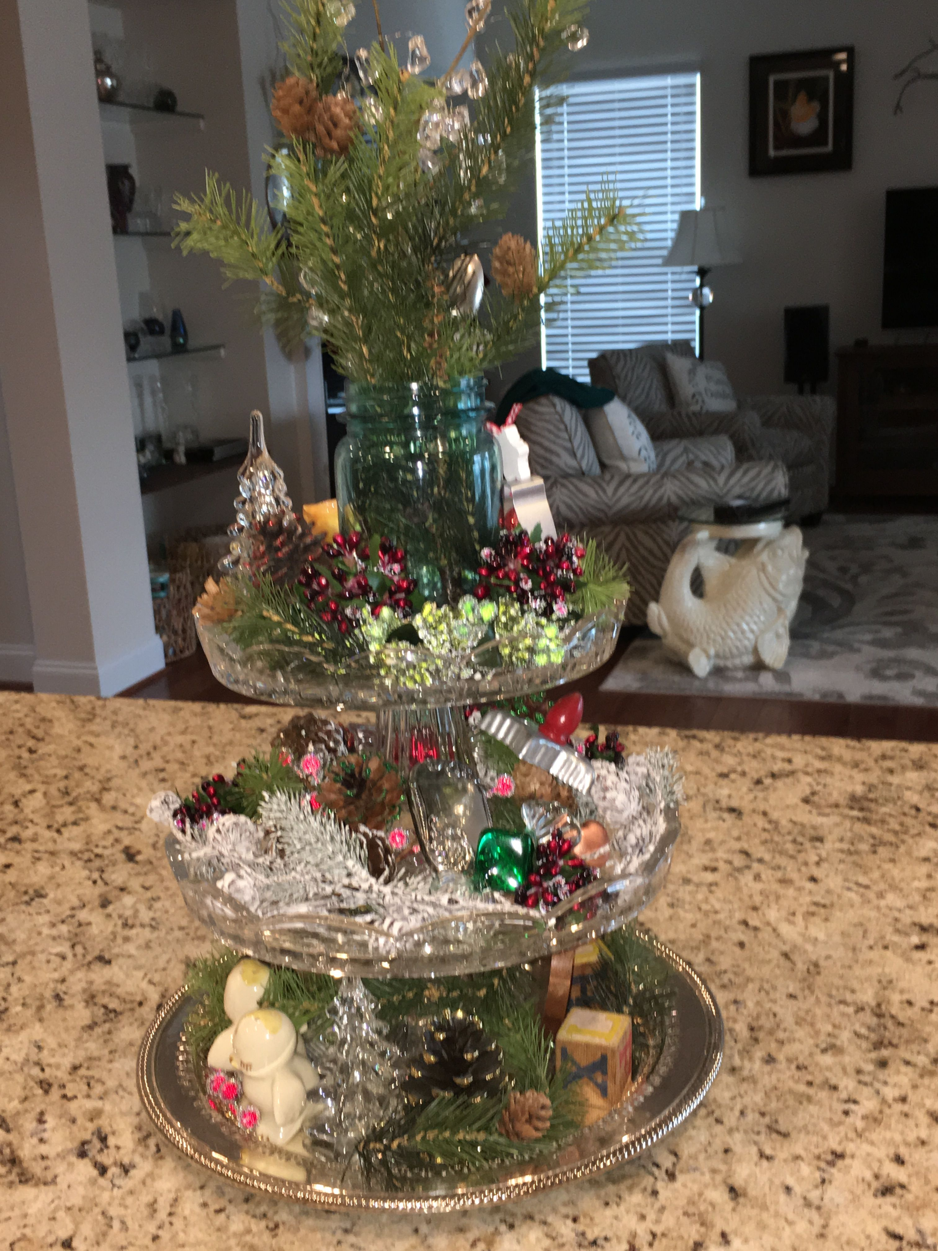 Christmas past three tier glass cake stands decorated