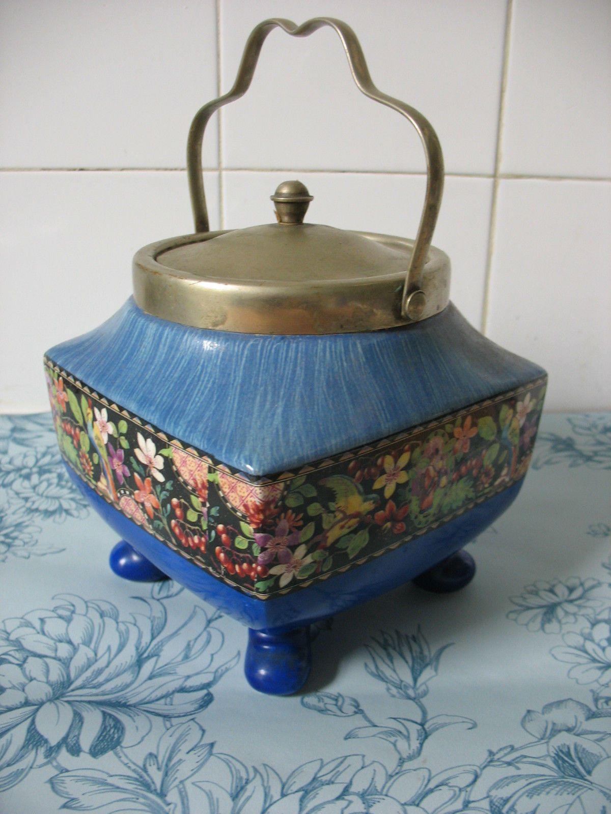 Ceramic biscuit barrel/ caddy Burslem Blue / floral print vintage