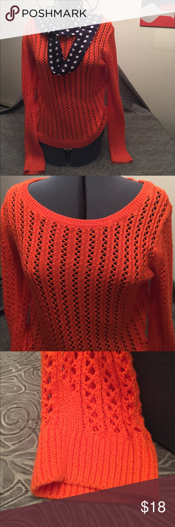 3 for $10 🌝Orange Open-weave sweater | White slacks, Orange ...