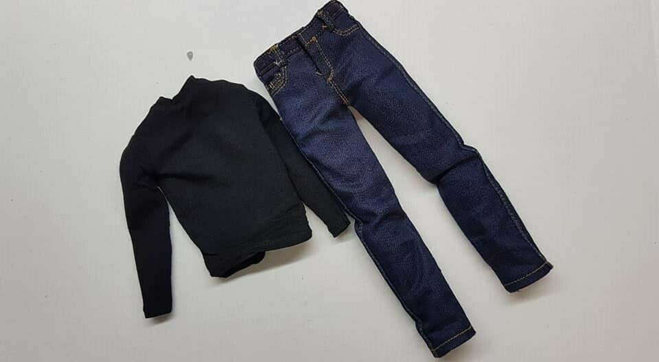 1//6 Scale Toy Fringe-Peter Bishop-Denim Jeans Bleu Avec Ceinture