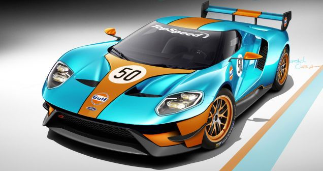 The New Ford Gt Looks Incredibly Badass In Gulf Livery Ford Gt Ford Mustang Cobra Ford Gt Gulf