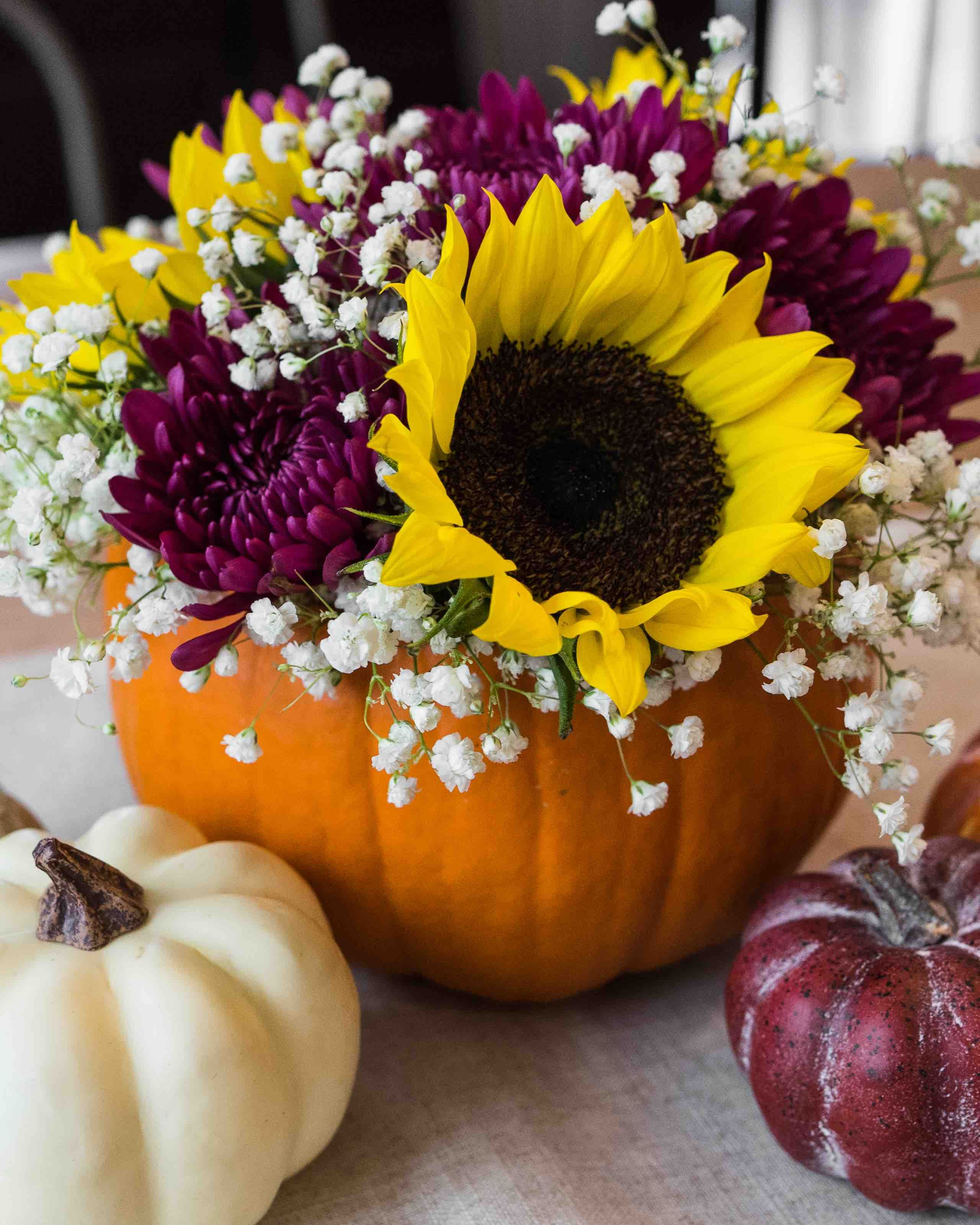 5 Ways To Diy With Fresh Pumpkins Half Full Pumpkin Floral Arrangements Fresh Flowers Arrangements Pumpkin Vase