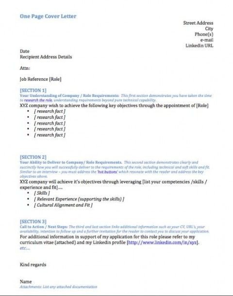 cover letter template linkedin
