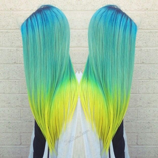 Neon Blue Fading Into Neon Teal To Neon Yellow Bold Hair Color Cool Hair Color Bright Hair Colors
