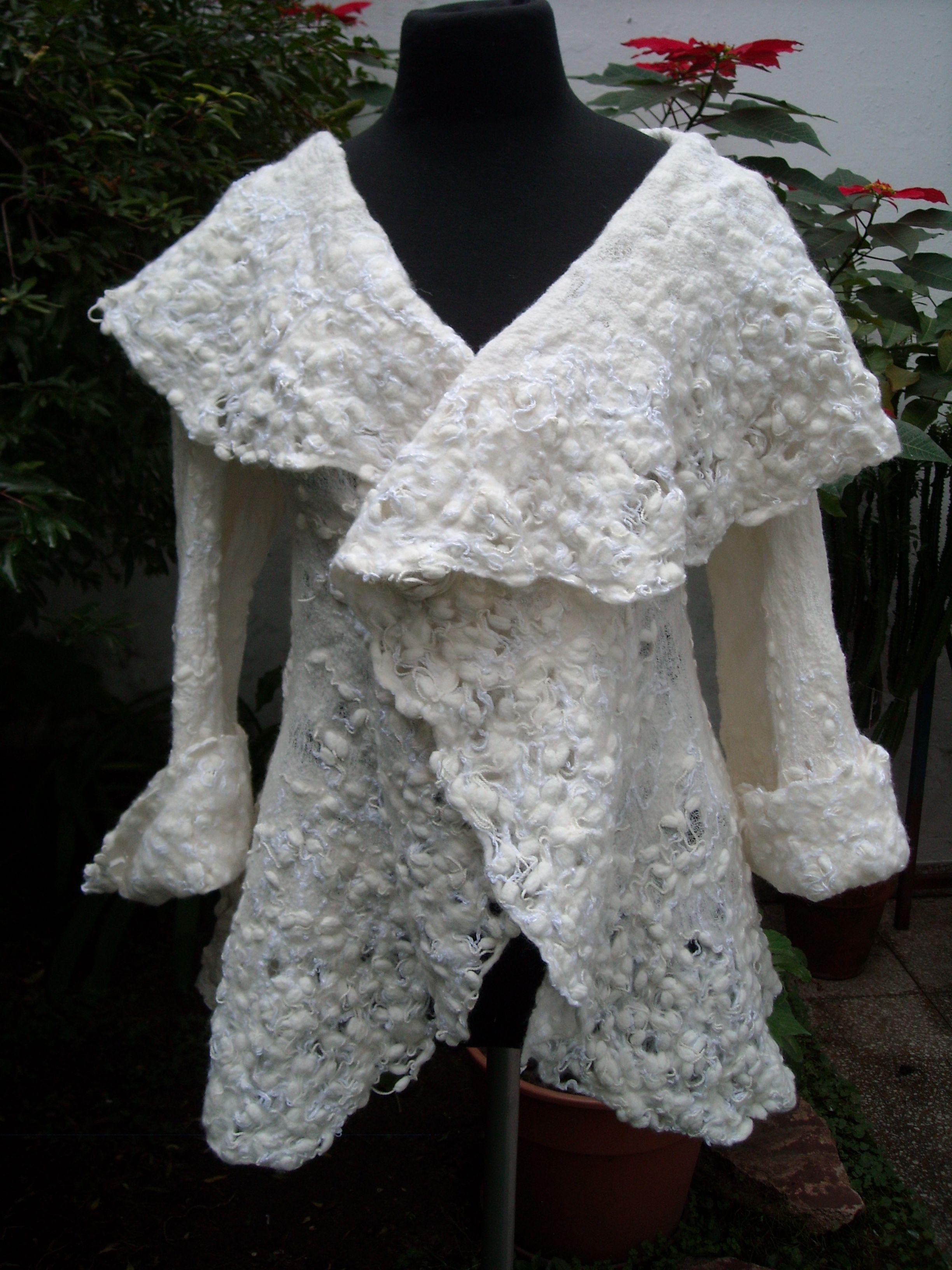 saco gasa de algodón, vellón de merino, e hilos de seda www.artefieltros.com